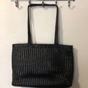 Genuine leather woven black bag